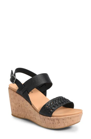 Kork-Ease Austin Braid Wedge Sandal, Black