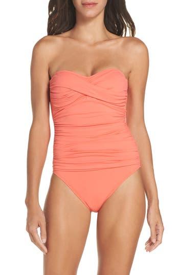 La Blanca Twist Front Bandeau One-Piece Swimsuit, Coral