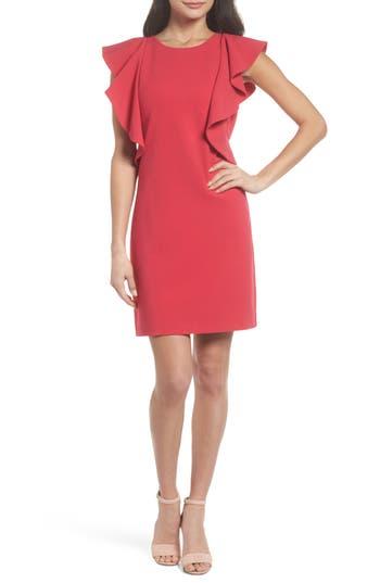 Women's Chelsea28 Ruffle Shift Dress, Size 0 - Pink