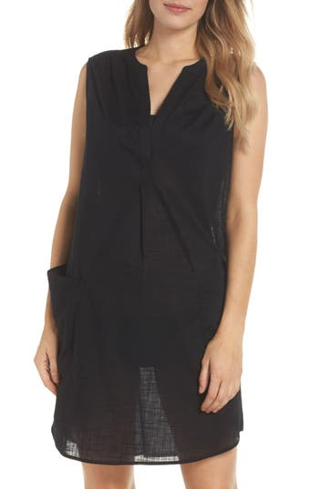 Women's Seafolly Palm Beach Cover-Up Dress, Size Small - Black