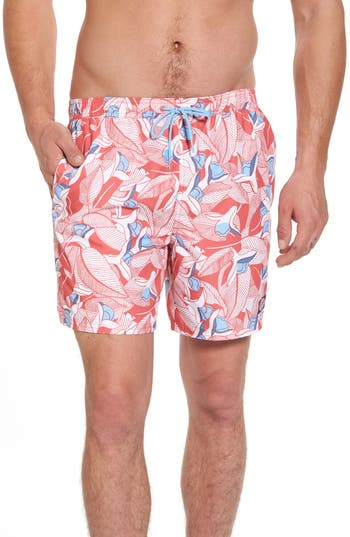 Vineyard Vines Chappy Floral Swim Trunks, Red