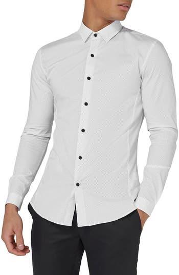 Topman Muscle Fit Polka Dot Sport Shirt, White