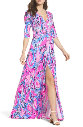 Women's Lilly Pulitzer Marvista Wrap Maxi Dress, Size X-Small - Pink