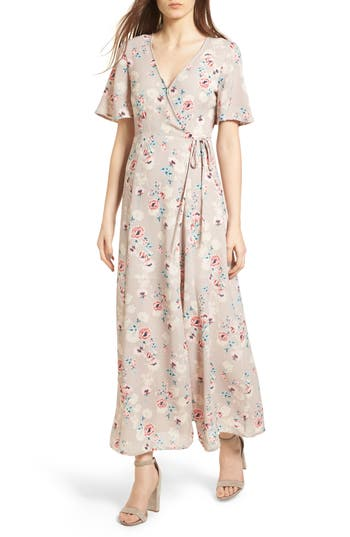 Women's Floral Print Wrap Maxi Dress, Size Small - Beige