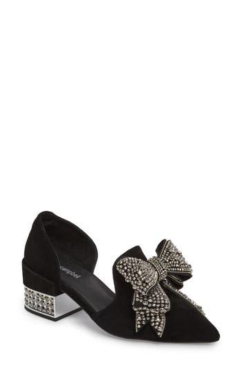 Women's Jeffrey Campbell Valenti Embellished Bow Loafer, Size 5 M - Black