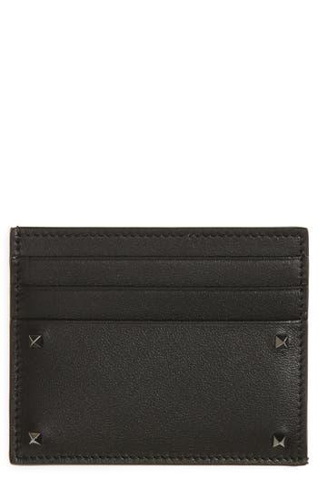 Men's Valentino Garavani Mini Rock Stud Leather Card Case - Black