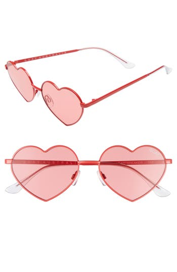 Women's Quay Australia 53Mm Heart Breaker Heart-Shaped Sunglasses - Red/ Red