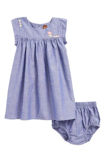 Infant Girl's Tea Collection Chambray Dress, Size 3-6M - Blue