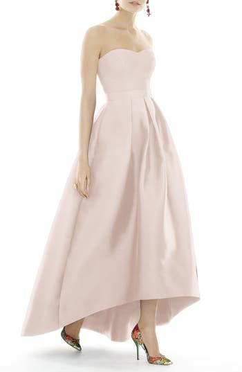 Alfred Sung Strapless High/low Sateen Twill Gown, Pink