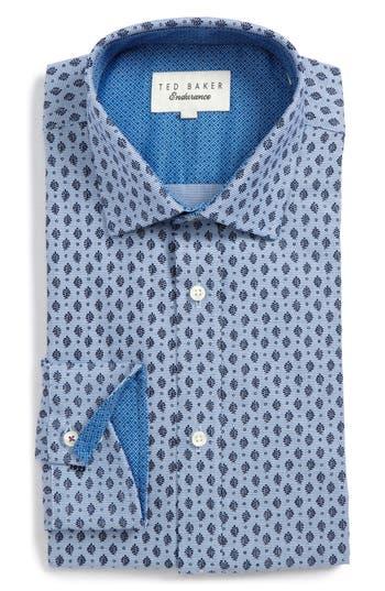 Men's Ted Baker London Endurance Begbie Trim Fit Print Dress Shirt, Size 14.5 32/33 - Blue
