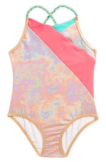 Girl's Little Marc Jacobs Iridescent One-Piece Swimsuit, Size 6 - Pink