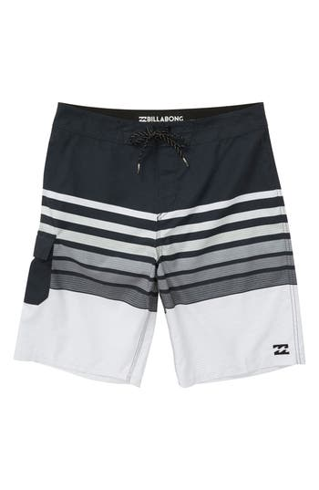Boys Billabong All Day Og Stripe Board Shorts Size 26  Black