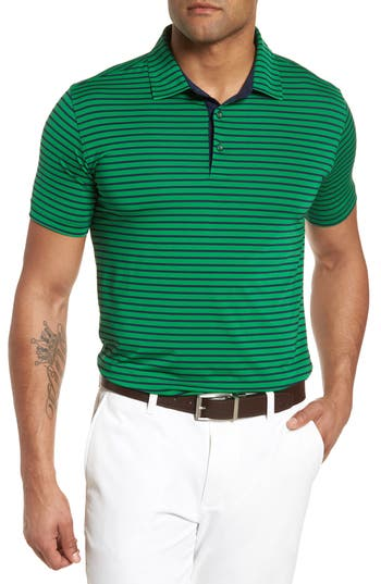 Men's Bobby Jones Control Stripe Jersey Polo, Size Small - Green