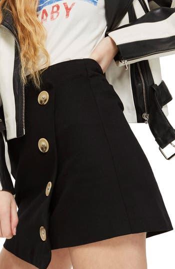 Topshop Twill Asymmetrical Wrap Skirt, US (fits like 10-12) - Black