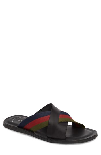 Men's Kenneth Cole New York Kirby Striped Slide Sandal, Size 8 M - Black