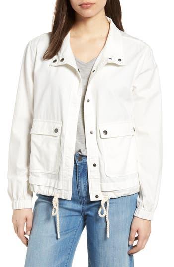 Petite Womens Caslon Snap Pocket Utility Jacket Size Small P  White
