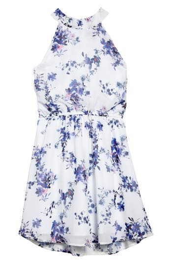 Girl's Ava & Yelly Floral Mock Neck Dress, Size 10 - White