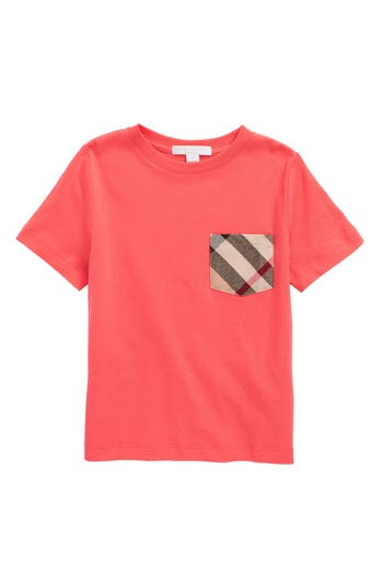 Boys Burberry Check Print Chest Pocket TShirt