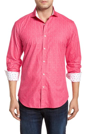 Men's Bugatchi Freehand Shaped Fit Sport Shirt, Size Small - Pink