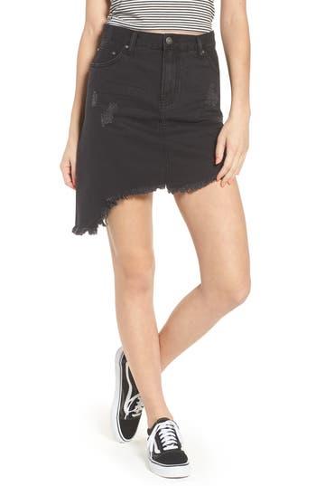 Evdnt Modena Asymmetrical Denim Skirt, Black