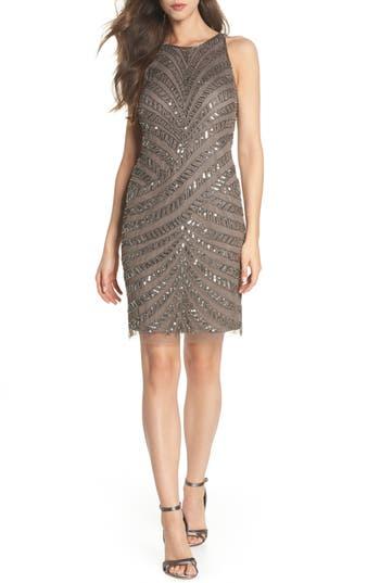 Adrianna Papell Beaded Tulle Sheath Dress, Grey