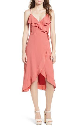 Leith Flounce Wrap Midi Dress, Coral