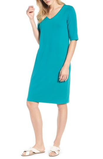 Eileen Fisher Stretch Jersey Shift Dress, Blue/green