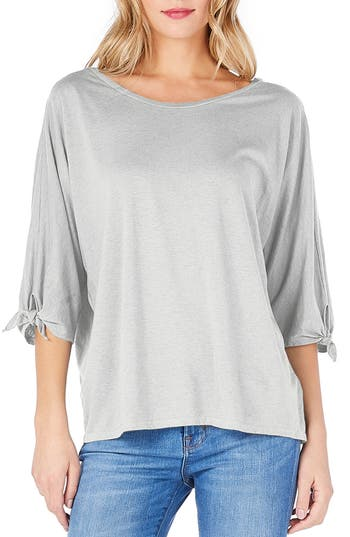 Michael Stars Tie Sleeve Tee, Size One Size - Grey