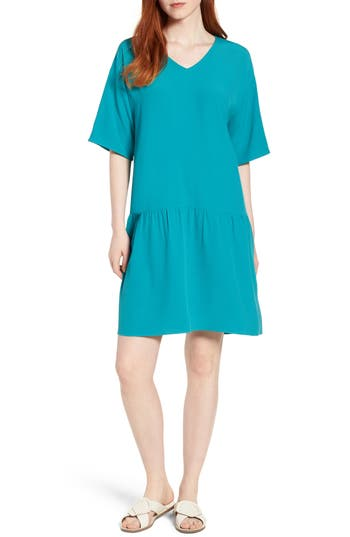 Eileen Fisher Drop Waist Tencel Lyocell Blend Dress, Blue/green
