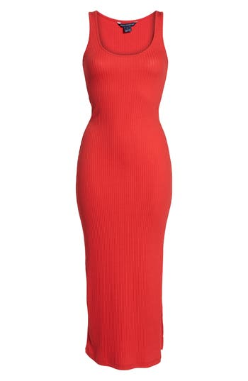 women's french connection tommy rib knit tank dress, size large - red
