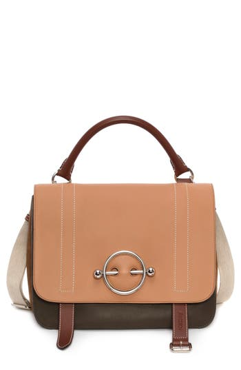 J.W.ANDERSON DISC LEATHER TOP HANDLE SATCHEL - BROWN