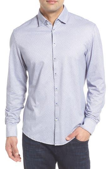 Men's Stone Rose Slim Fit Geo Print Sport Shirt, Size 5(xl) - White