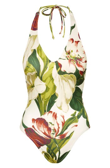 Robin Piccone Hawaiian Floral One-Piece Swimsuit, Ivory