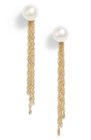 Poppy Finch Gold Tassel Jacket Pearl Stud Earrings