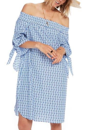 Womens Scotch  Soda Off The Shoulder Tie Sleeve Dress Size XSmall  Blue
