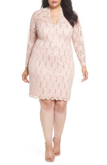 Plus Size Marina Sequin Stretch Lace Sheath Dress, Pink