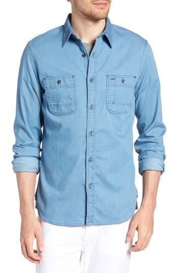 Big & Tall 1901 Workwear Trim Fit Stretch Denim Sport Shirt, Blue