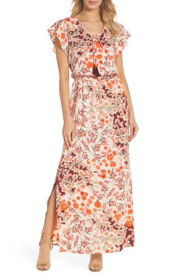 Adrianna Papell Floral Ruffle Sleeve Maxi Dress, Red