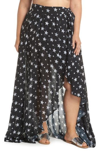Plus Size Alpine Butterfly Cannes Cover-Up Skirt, Black