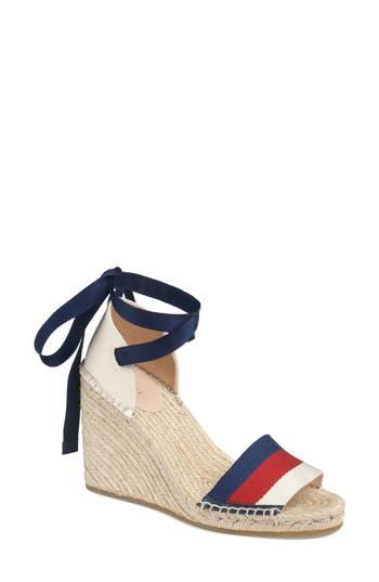 Gucci Lilibeth Sylvie Web Espadrille Wedge Sandal
