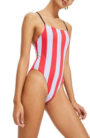 Topshop Stripe One-Piece Swimsuit, US (fits like 0) - Red