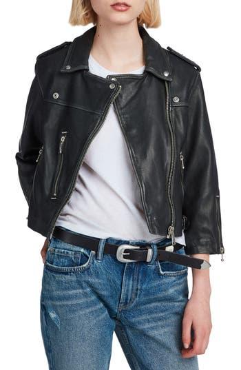 Allsaints Lara Sheepskin Leather Biker Jacket, Black