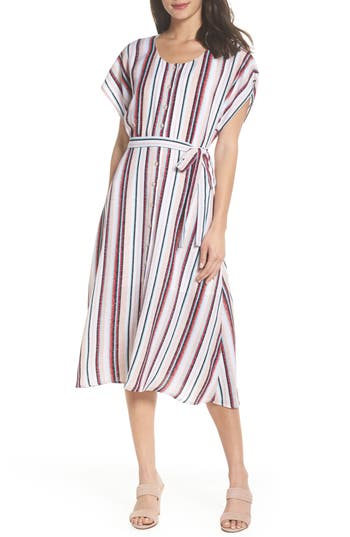 Charles Henry Belted Button Down Midi Dress, Ivory