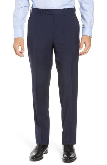 John W. Nordstrom® Torino Traditional Fit Flat Front Plaid Wool Trousers