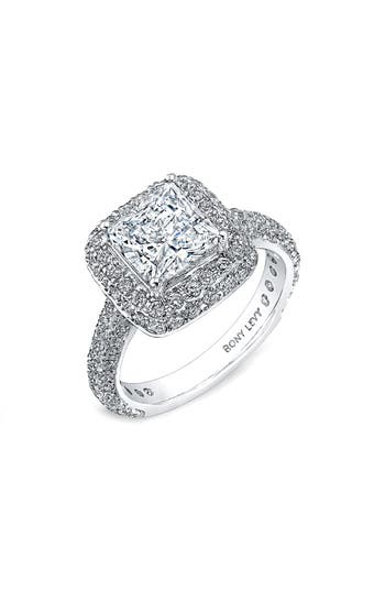 Bony Levy Pavé Diamond Double Halo Princess Engagement Ring Setting