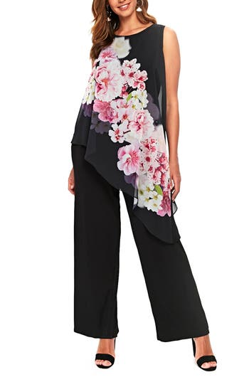 Plus Size Womens Evans Flower Popover Jumpsuit