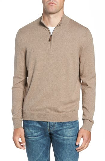 Nordstrom Men's Shop Half Zip Cotton & Cashmere Pullover