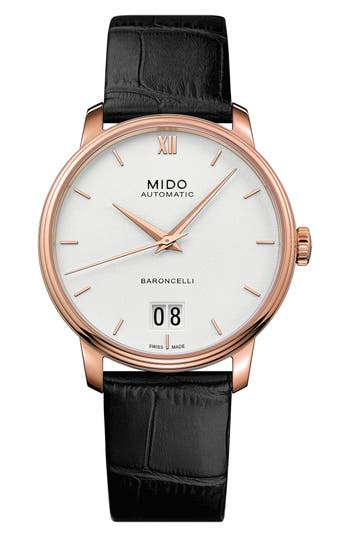 MIDO Baroncelli III Automatic Leather Strap Watch, 40mm