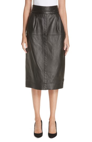 MARC JACOBS Leather Midi Skirt