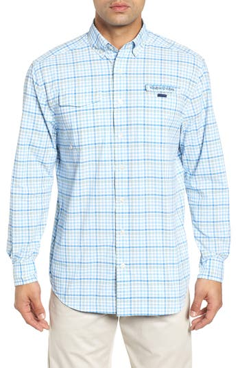 Men's Vineyard Vines Field Point Harbor Regular Fit Performance Sport Shirt, Size Small - Green